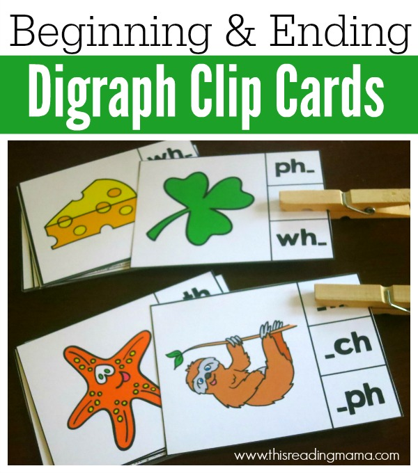 Beginning and Ending Digraph Clip Cards- FREE - This Reading Mama
