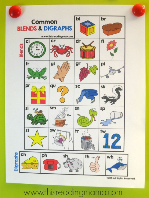Common Blends And Digraphs Chart For Kids {FREE} | This Reading Mama