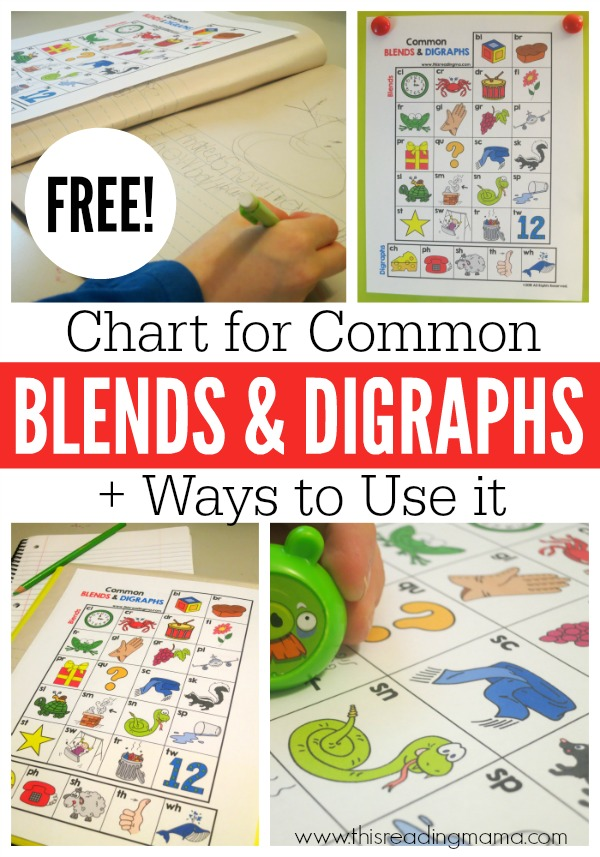 FREE Chart for Common Blends and Digraphs - Ways to Use it - This Reading Mama