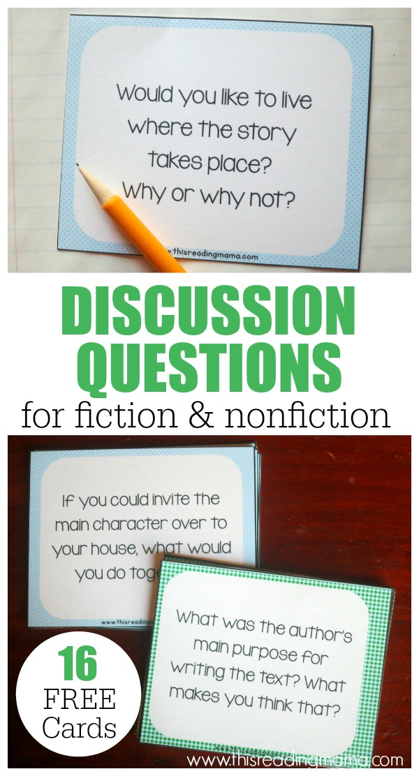 FREE Discussion Questions for fiction and nonfiction texts - This Reading Mama