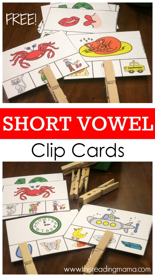 FREE Short Vowel Sounds Clip Cards by This Reading Mama