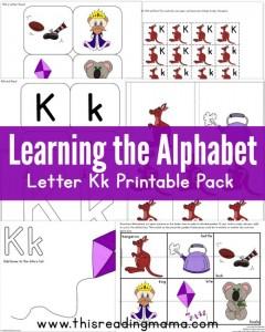 Learning the Alphabet – Letter K Printable Pack