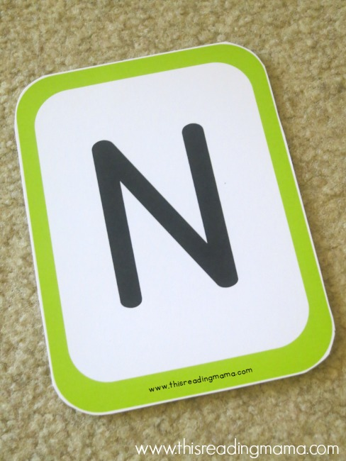 letter N letter mat for name spelling game