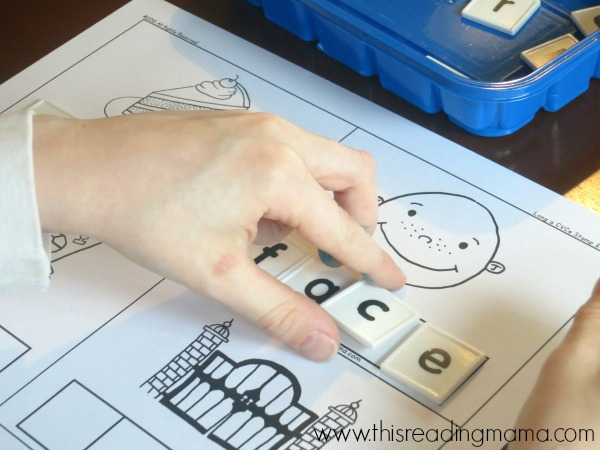 spelling long a CVCe words with letter tiles