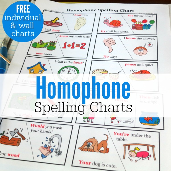 Homophone Spelling Charts {FREE} - This Reading Mama