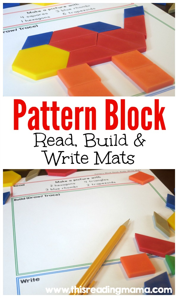 Pattern Block - Read Build and Write Mats - This Reading Mama