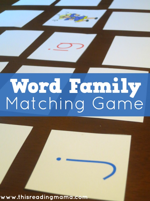 Word Family Matching Game - This Reading Mama