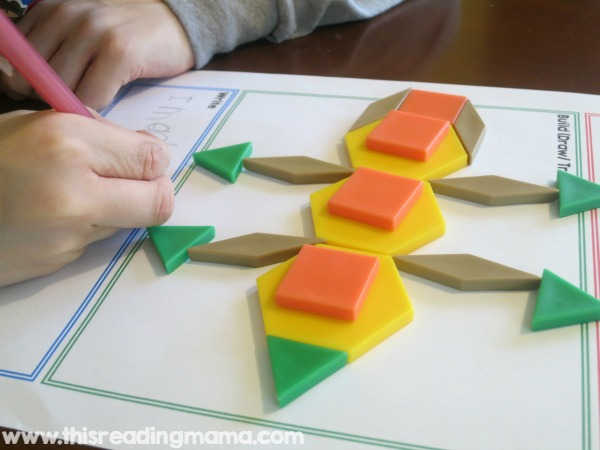 building and writing with pattern blocks