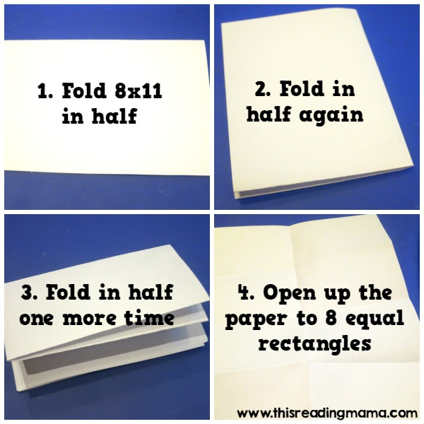 folding paper for stamping sight words