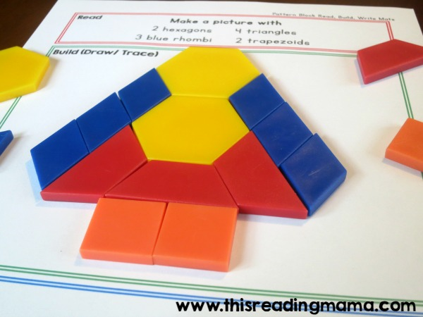 reading directions and building with pattern blocks