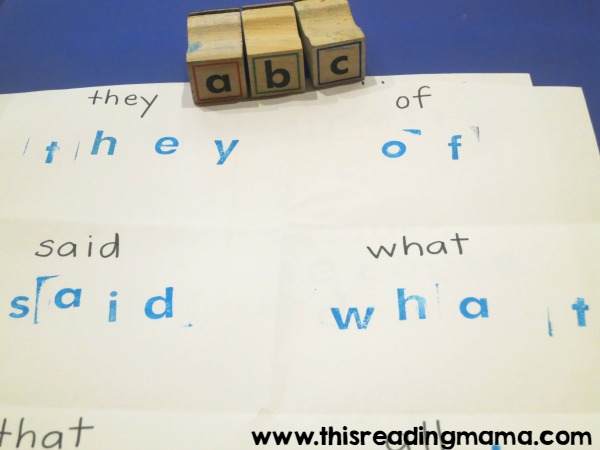 stamping sight words with letter stamps