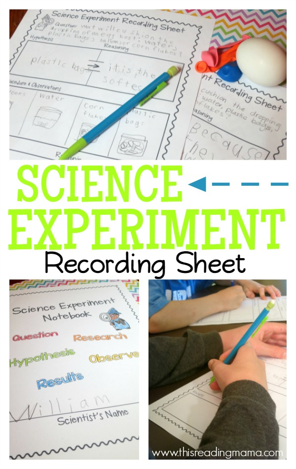 FREE Science Experiment Recording Sheet and Notebook Cover - This Reading Mama