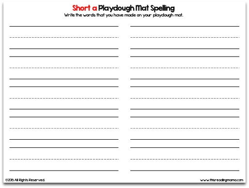 Short Vowel Playdough Mat Recording Sheet