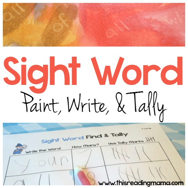 Sight Word: Paint, Write, Tally Activity with FREE recording sheets - This Reading Mama