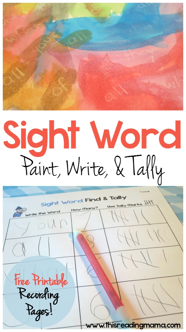 Sight Word: Paint, Write, Tally {with FREE printable pack} - This Reading Mama