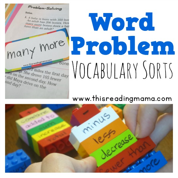 Word Problem Vocabulary Sorts - FREE Math Vocabulary Pack from This Reading Mama