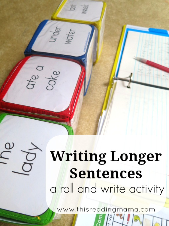 Writing Longer Sentences- a roll-and-write activity -This Reading Mama