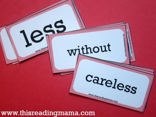 free suffix cards - meanings and examples