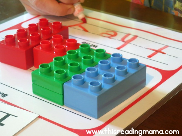 handwriting practice on DUPLO handwriting mats
