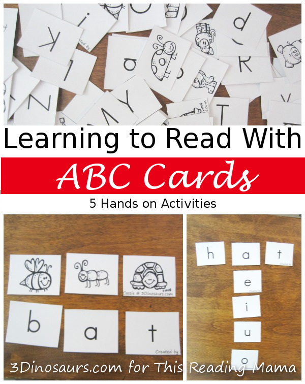 Learning to Read with ABC Cards - 5 Hands-on Activities | 3 Dinosaurs for This Reading Mama