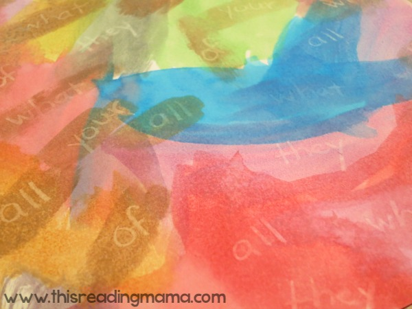 letting the painting dry helps sight words pop better