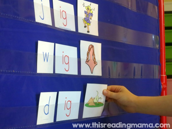 matching IG word family words and pictures on pocket chart