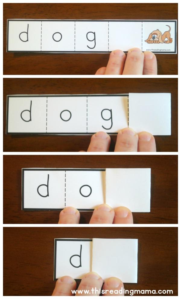 preparing the short vowel foldable strips