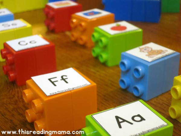 setting up beginning letter sound matching with DUPLO bricks