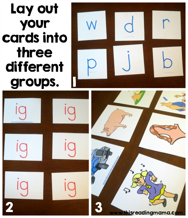 setting up word family matching game