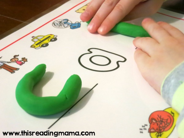 spelling CAB on the short a playdough mat