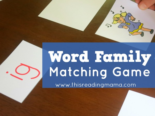 word family matching game from This Reading Mama