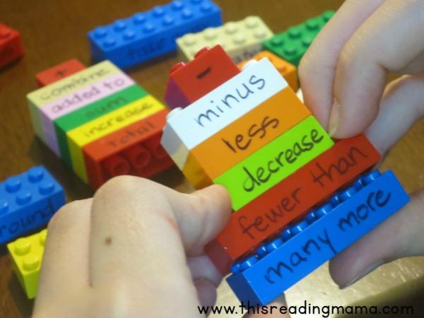 word problem math vocabulary on LEGO bricks