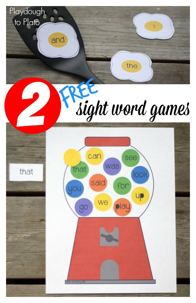 2 FREE Sight Word Games from Playdough to Plato