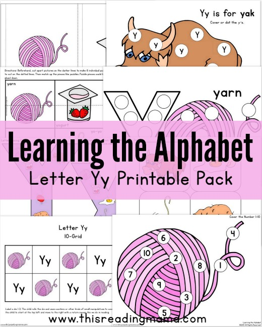 Learning the Alphabet - FREE Letter Y Printable Pack - This Reading Mama