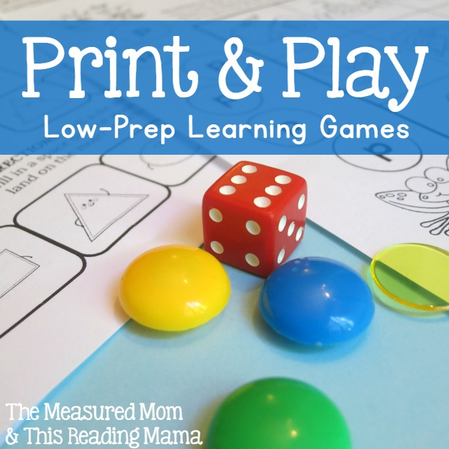 Print and Play - Low-Prep Learning Games | a learning series from The Measured Mom and This Reading Mama