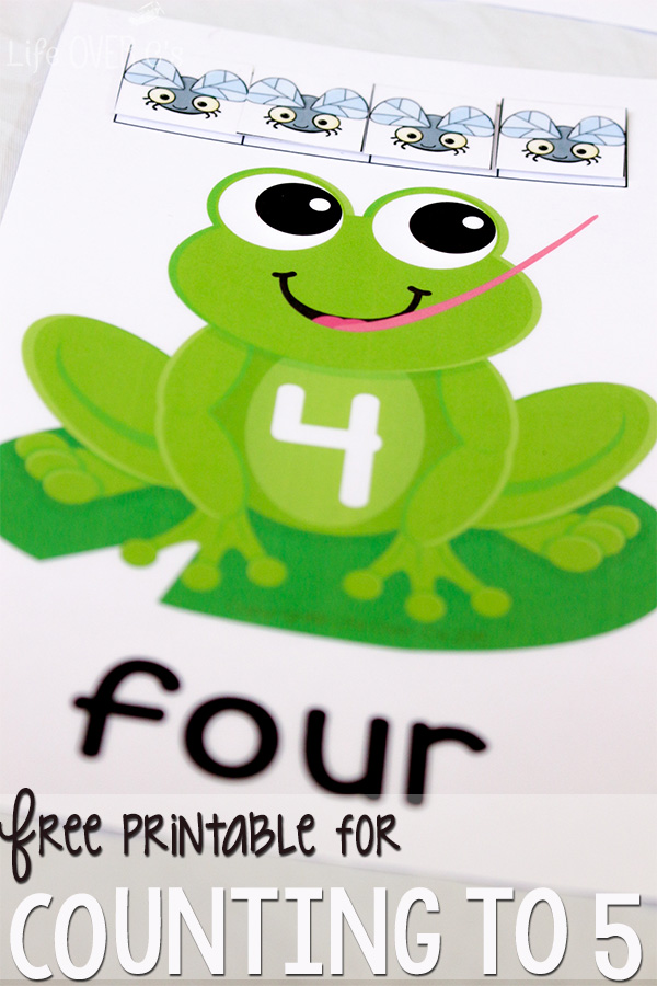 Counting to 5 with FREE printable frogs and flies | Life Over C's for This Reading Mama