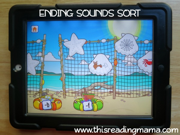 level 2 ending sounds sort from Alphabet Sounds Learning App