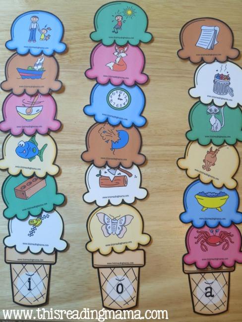 sorting short vowel ice cream cones - 3 short vowels