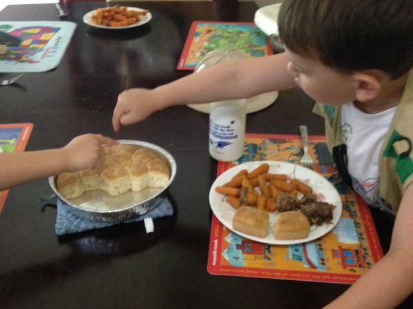 using subtraction with dinner rolls