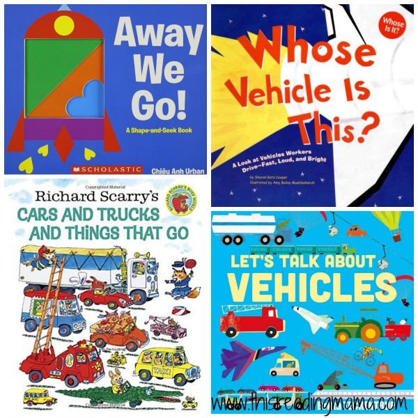vehicle books for the letter v by This Reading Mama