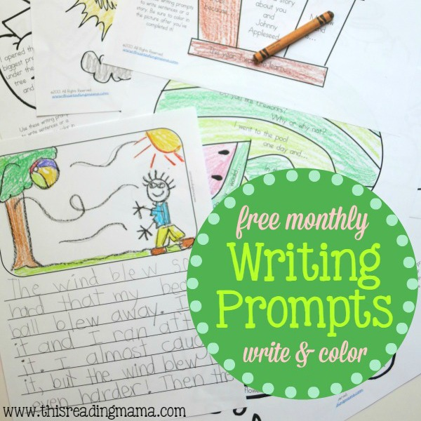 FREE Monthly Writing Prompts that Kids Can Color - This Reading Mama