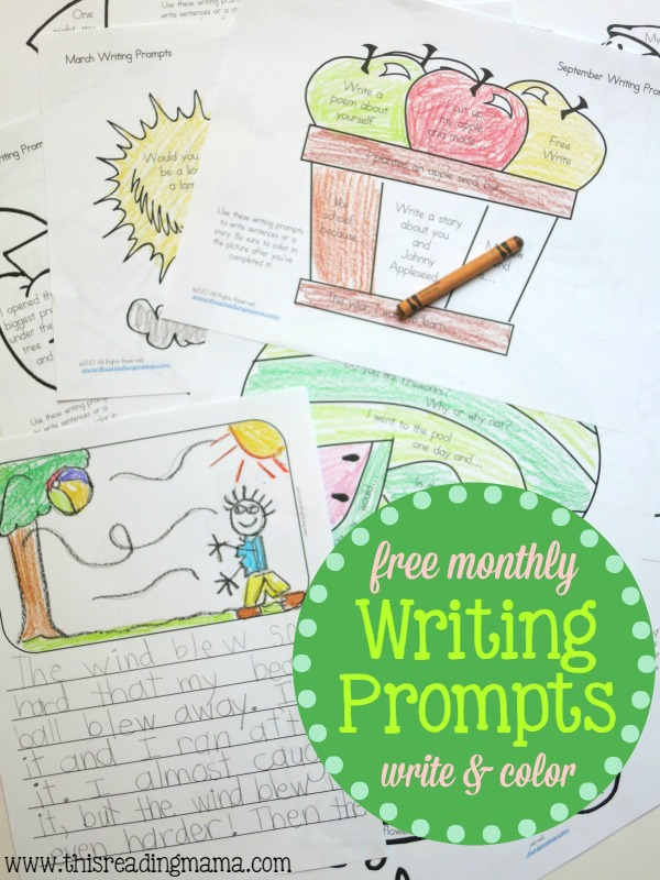 FREE Monthly Writing Prompts - Write and Color by This Reading Mama