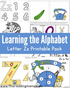 Learning the Alphabet – FREE Letter Z Printable Pack