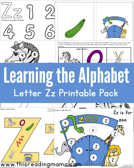 Learning the Alphabet - FREE Letter Z Printable Pack - This Reading Mama
