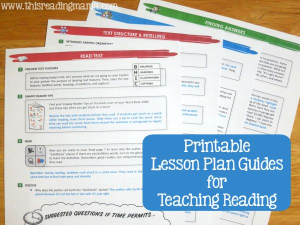 Printable Lesson Plan Guides for Teaching Reading from Snap! Learning