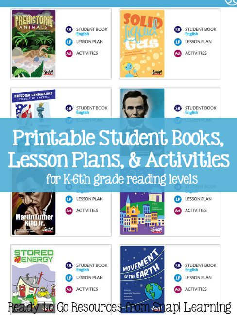 Printable Student Books-Lesson Plans-Activities for K-6th grade levels from Snap! Learning