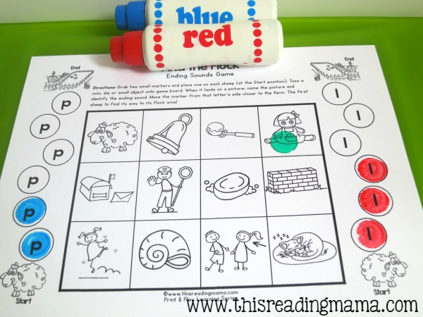 playing the ending sounds games with do-a-dot paint markers