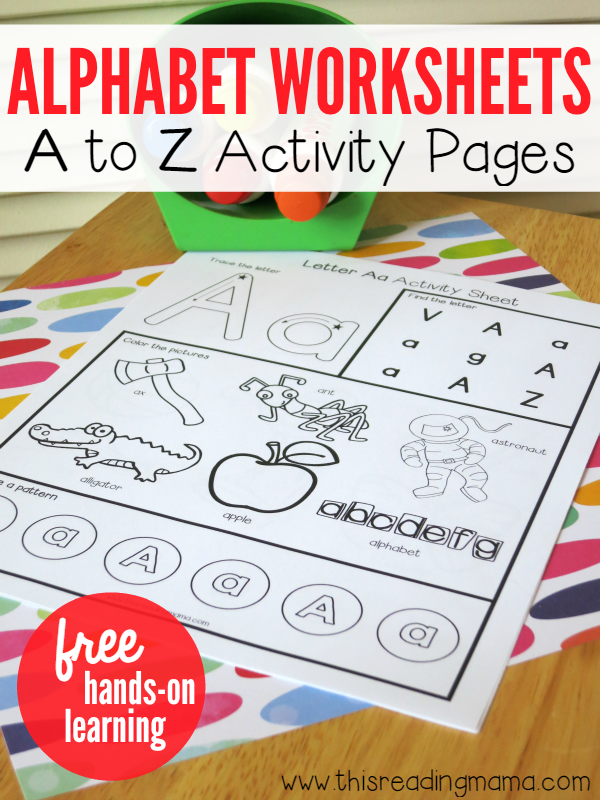 Alphabet Worksheets – Activity Pages from A to Z