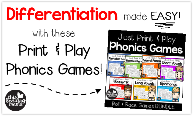 Differentiation is made EASY with these Print and Play Phonics Games -This Reading Mama