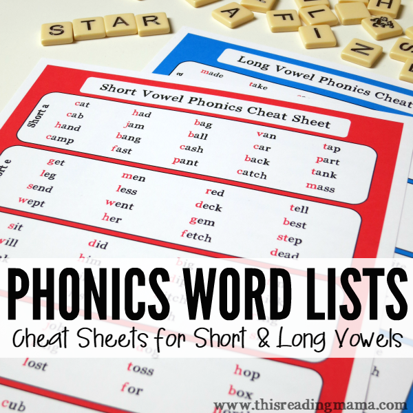 FREE Phonics Word Lists for Short and Long Vowel Patterns from This Reading Mama